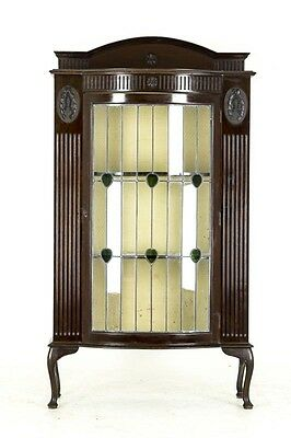 B517 Antique Scottish Carved Mahogany BowFront Display Cabinet with Leaded Glass