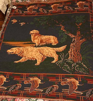 Golden Retriever Dog Tapestry Afghan Throw Blanket Made in USA Hunting Theme New