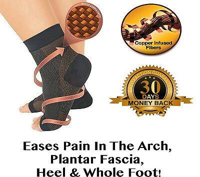 Plantar Fasciitis Copper Infused Compression Ankle Socks Swelling Relief Support