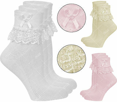 Newborns Infants Toddlers Babys Kids Girls Ladies Lace Bow Ankle Socks Lot »