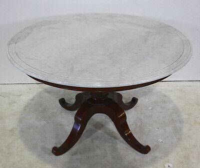 """Beautiful 46"""" round traditional mahogany formal dining table with marble top"""