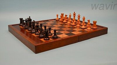 Large Antique English Ebony Staunton Chess Set  & Mahogany Board