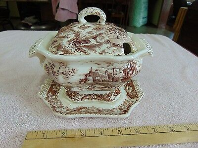 Antique Brown Transfer Ware Small Tureen with Underplate