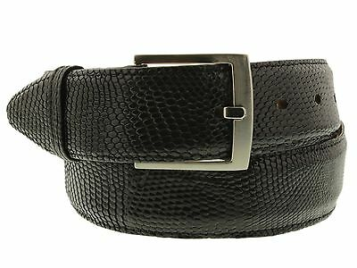 Mens Genuine Black Teju Lizard Leather Western Belt Dress Fashion Silver