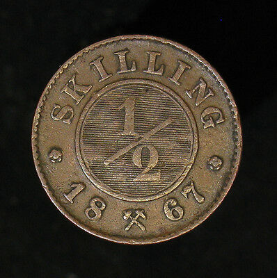 1867 Norway 1/2 Skilling high grade