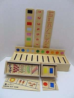 Homeschool Montessori Counting Math Color Colour Slit Game Doron Layeled Wood