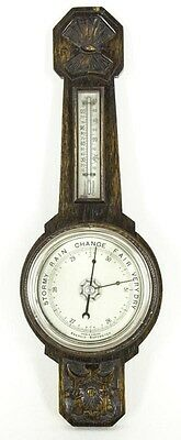 B502 Carved Oak Aneroid Barometer, Thermometer