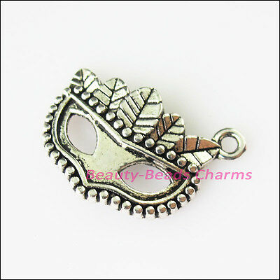 8 New Leaf Mask Masquerade Tibetan Silver Tone Charms Pendants 16x21mm