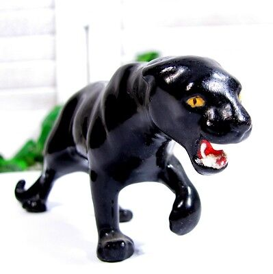 Vintage BLACK PANTHER CAT Figure Miniature Statue Mid Century Modern Pottery