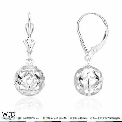 b7f90d815 High Polished Hollow Heart Carved Ball Dangle Lever Back Earrings 14K White  Gold