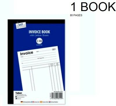 Full Size A5 Invoice Duplicate Receipt Book Numbered Cash 1 - 80 Pages Pad