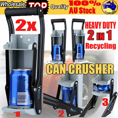 CAN CRUSHER Beer Soda Smasher 16oz Aluminium Recycling Bottle Opener Mount 2PCS
