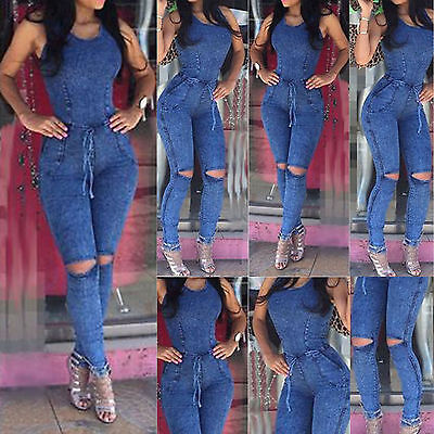 Summer Women Ladies Jeans Playsuit Bodycon Party Jumpsuit Romper Trousers New FA