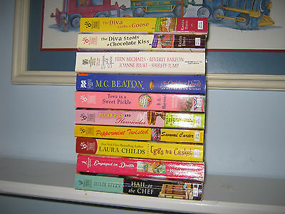 Lot of 10 Cozy Mystery Books all Cooking Culinary w/Recipes Fluke Childs Hyzy