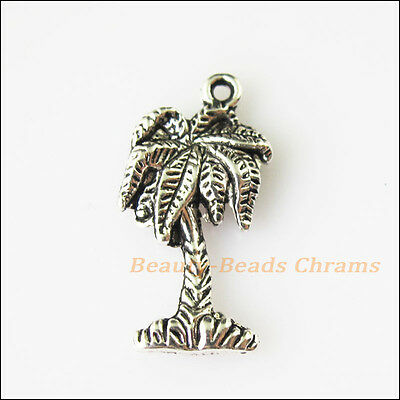 12 New Coconut Tree Leaf Tibetan Silver Tone Charms Pendants 11x22mm