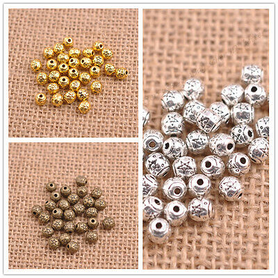 Tibetan Silver Round Charm Spacer Beads for Bracelet 5.5X5.5MM 3141