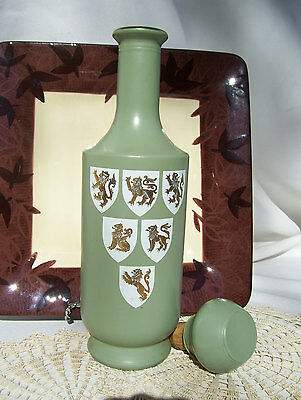 Old Fitzgerald Bourbon Whiskey Mid Century Decanter with Lion Crests Medieval
