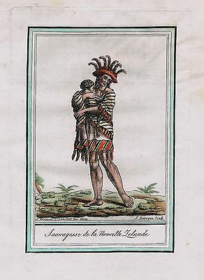 1780 - New Zealand Pacific Ocean James Cook costumes natives antique print