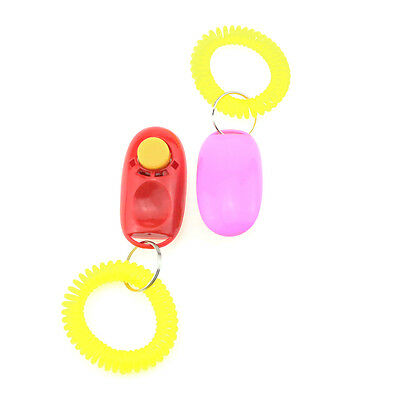 Wrist Strap Pet Plastic Dog Puppy Clicker Button Trainer Aid Dog Training