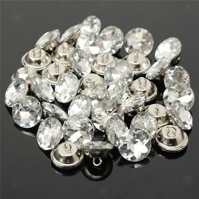 50pcs 25mm Gem Flower Crystal Sew Button Décor for Upholstery Sofa Headboard