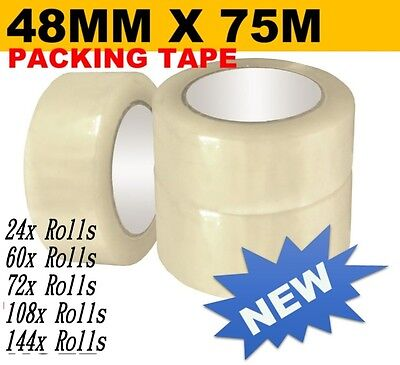 Parcel Packing Clear Tape Strong Cartons Rolls 24x-144x Sticky 75 Meter x 48 mm