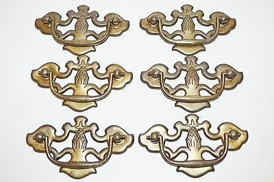 "lot 6 old antique fancy batwing drawer pulls pineapple bronze tone 3"" centers"