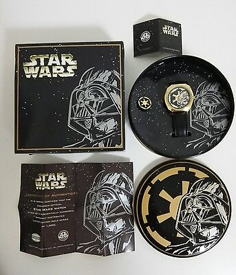 1997 STAR WARS DARTH VADER FOSSIL Limited Edition Gold Watch COA 1 of 1000 New