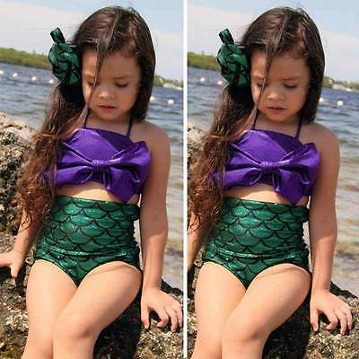 UK Girls Kids Mermaid Swimmable Bikini Swimwear Swimsuit Swimming Costume Set