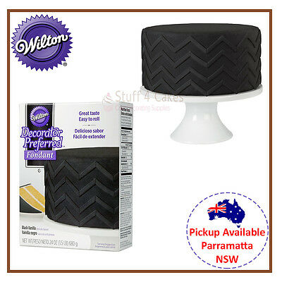 WILTON BLACK VANILLA ROLLED FONDANT 680g RTR ICING COLOUR CAKE DECORATING