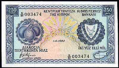 Cyprus 250 Mil, S/81 003474, 1.6.1982, Almost Uncirculated.