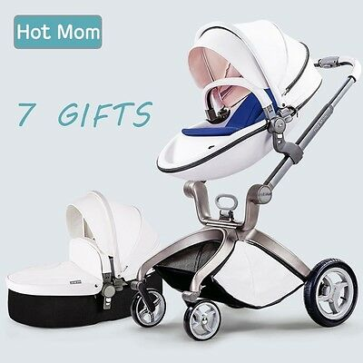 Pushchair 2016, 3 in 1 Baby Stroller Travel System With Bassinet White