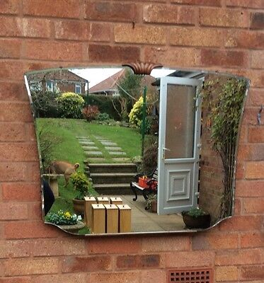 Large Vintage Art Deco Distressed Wall Hung Mirror.