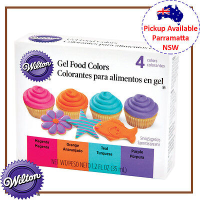 Wilton Neon 4 Colours Icing Set Edible Food Colouring Gel Paste Cake Decorating