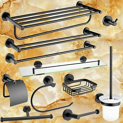 MATT BLACK Round Towel Rail Rack Glass Shelf Robe Hook Toilet Paper Holder Brush