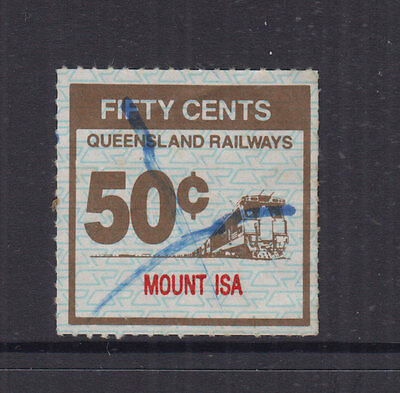 QUEENSLAND 1991 50c RAILWAY PARCELS-Roulette- Security Ovpt- FU