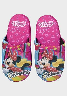 Girls Minnie Mouse Character Night Mule Slippers Uk Size 11/12