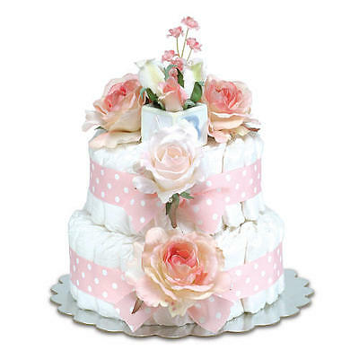Bloomers Baby Diaper Cake-Classic Pink Roses with Polka Dots - Small 2-Tier