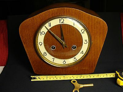 Vintage mantel chiming clock in wooden case with F. Hermle movement