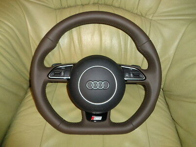 NEU NEW Lederlenkrad Audi A3 A4 S4 8K A5 S5 Q5 Q7 RS4 RS5 RS6 RS7 unten abgeflac