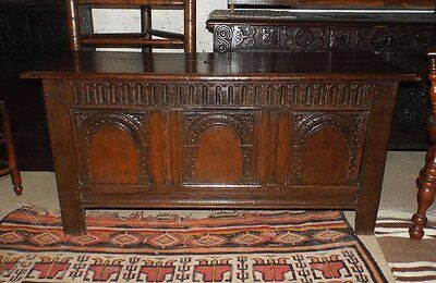Early 17th Century James 1st Carved Oak Coffer C1610