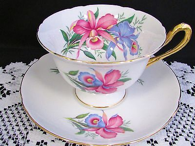 Shelley Pastel Blue Pink Iris Floral Gold Tea Cup And Saucer