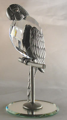 Genuine Pewter Parrot Handcrafted Using Swarovski Crystal