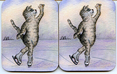 2 x coasters silver tabby cat ice skating figure skater dance spin Susan Alison
