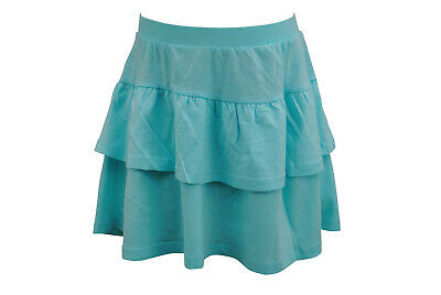 Girls Ex H&M Ruffle Skirt Soft Cotton Jersey Aqua Size Age 2 to 9 Years Kids