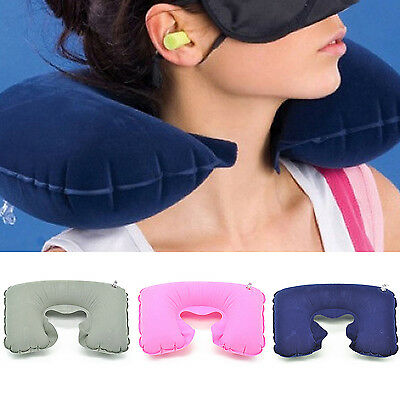 Fad Soft Inflatable Travel Pillow Air Cushion Neck Rest U-Shaped Compact Flight