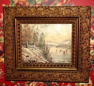 """Ornate Antique Gold Leaf Wood Picture Frame 16 1/4"""" x 14 1/4"""" holds 8"""" x 10"""""""