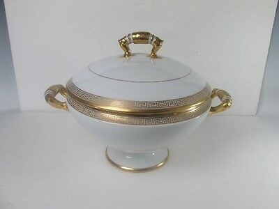 "Dresden Large Soup Tureen with Gold Key ""Chi ""Design"