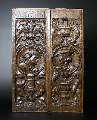 An Exceptional Pair Of 16th Century Romayne Carved Oak Panels c1530