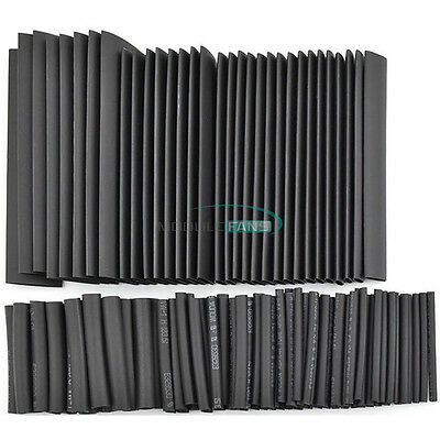 127PCS 2:1 Polyolefin Heat Shrink Tubing Cable Tube Sleeving Kit Wrap Wire Black