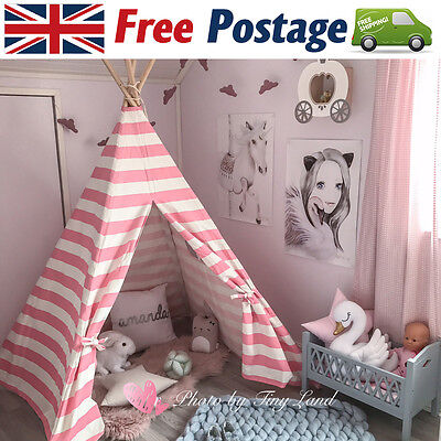 Girls Princess GIANT WIGWAM TEEPEE Canvas Children Play Tent Play House Indoor